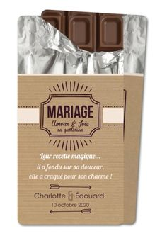 Faire part mariage Tablette chocolat (ER-654-RC1)
