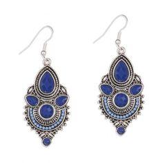 Boucles d'oreilles ethniques et pierres bleues