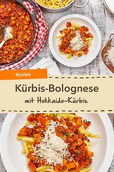 Bring Abwechslung in deine Bolognese: Kürbis-Bolognese mit Hokkaido-Kürbis und Rinderhackfleisch. Lecker! #kürbis #hackfleisch #bolognese #pasta