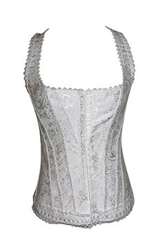 d3bba7f90fe Chicastic White Lace Trim Halter Style Bridal Sexy Strong Boned Corset Lace  Up Bustier - X-Large