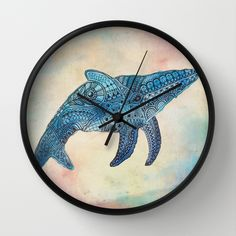 Baby Whale Wall Clock by sandybro Baby Whale, Watercolor Tattoo, Clock, Wall, Animals, Watch, Animaux, Walls, Animal