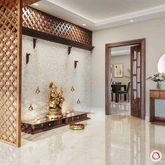 Pooja Room Door Design, Home Room Design, Home Interior Design, Hall Interior, Apartment Interior, Kitchen Design, Temple Room, Home Temple, Bungalow House Design