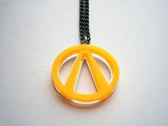 Borderland Jellow Necklace , Laser Cut Acrylic Borderland Symbol