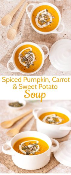 Spiced Pumpkin, Carrot, and Sweet Potato Soup is full of delicious fall flavours and perfect if you celebrate American Thanksgiving. The post Spiced Pumpkin, Carrot & Sweet Potato Soup autumn scenery appeared first on Trendy. Spiced Pumpkin Soup, Pumpkin Recipes, Pumpkin Spice, Sweet Potato Pumpkin Soup, Carrot And Sweet Potato Recipe, Sweet Pumpkin Soup Recipe, Pumpkin Pumpkin, Healthy Pumpkin, Vegan Pumpkin