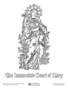 The Immaculate Heart of Mary -  Free Hand-Drawn Catholic Coloring Pictures