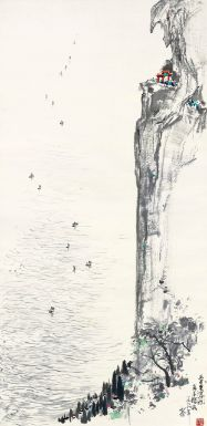 Wu Guanzhong. 1919-2010. Kunming lake. Ink and colour on paper. 138.7x68.3cm. 1978.