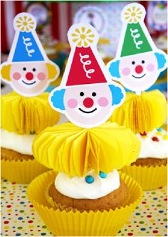 Big Top Circus Birthday Party Printables Cupcake Toppers