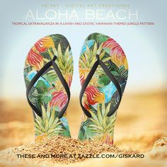"ALOHA BEACH... Tropical extravaganza in a lavish and exotic hawaiian themed jungle pattern"" #flipflops #sandals #thongs #footwear, #flippers, #beach, #summer, #tropical, #tropics, #jungle, #palm, #flowers, #exotic, #hawaii, #aloha, #swimming, #surfing, #cocktail, #hot, #island, #isle, #vacation #colorful #watercolor #painted #zazzle #zazzler #zazzeleshop #digitalartcreations"
