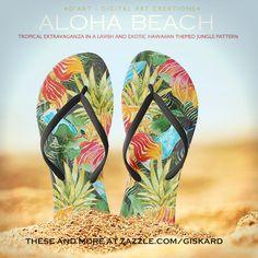 "ALOHA BEACH... Tropical extravaganza in a lavish and exotic hawaiian themed jungle pattern"" #flipflops #sandals #thongs #footwear, #flippers, #beach, #summer, #tropical, #tropics, #jungle, #palm, #flowers, #exotic, #hawaii, #aloha, #swimming, #surfing, #cocktail, #hot, #island, #isle, #vacation #colorful #watercolor #painted #zazzle #zazzler #zazzeleshop #digitalartcreations"