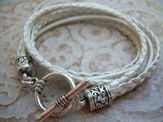 Womens  Leather Bracelet , Toggle Closure,  Metallic Pearl, Triple Strand, Double Wrap, Womens Jewelry, Womens Bracelet
