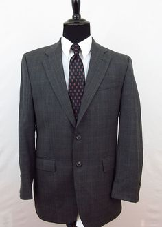 Brooks Brothers Sport Coat Blazer Jacket Men's 100% Wool Gray 44R Brooksease #BrooksBrothers #TwoButton