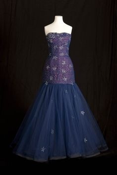 Murray Arbeid Midnight Blue Silk and Tulle Diamant Embellished Evening Dress (1986 dinner for President of Greece at Claridges Hotel)
