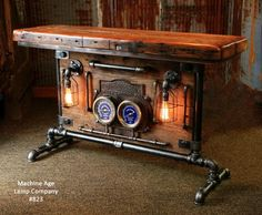 Industrial, Barn wood and Iron Frick Co Steam Gauge Table, Lamp Stand #823 Industrial Design Furniture, Vintage Industrial Furniture, Rustic Furniture, Industrial Style, Furniture Nyc, Furniture Movers, Cheap Furniture, Furniture Cleaning, Furniture Stores