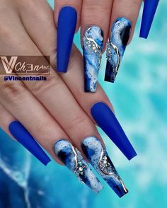 I'm Obsessed With Those Blue Coffin Nails Design! Blue Coffin Nails, Blue Acrylic Nails, Summer Acrylic Nails, Pastel Nails, Cute Acrylic Nail Designs, Beautiful Nail Designs, Nail Swag, Glam Nails, Bling Nails