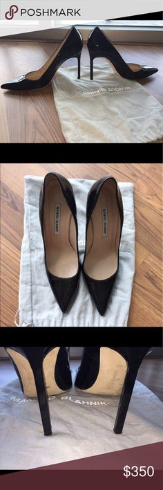 "Manolo Blahnik Patent BB Pumps Black patent leather pumps, size 39. They have a 3.5"" heel. Have worn about 4 times approximately, but always felt too big on me, so I don't want them to go to waste! Outer soles and heel tips are a little worn looking but leather is pristine. Manolo Blahnik Shoes Heels"