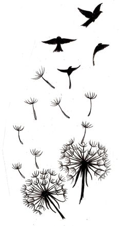 Dandelion tattoo with bird silhouettes. | Tattoos!!