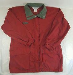 Women's XL Columbia Windbreaker Red Zip/Snap Drawstring Waist 100% Nylon 69724