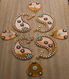 Reusable Diwali Rangoli Kundan Rangoli Kairi mango by Shimmeria Diwali Rangoli, Small Heart, Sugar Flowers, Shortbread, Melting Chocolate, Rosettes, Quick Easy Meals, Gingerbread Cookies, Cocoa
