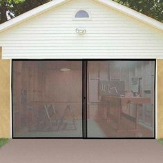 One of the best parts of working in the garage is letting the fresh air roll in, but without the bugs that come with it. The Instant Garage Door Screen instantly makes your garage a more enjoyable pla Man Cave Garage, Garage Shed, Garage Workshop, Garage Storage, Garage Doors, Garage Organization, Garage Workbench, Garage Signs, Garage Pergola