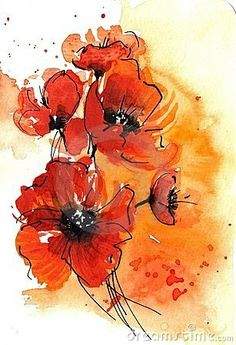 abstract poppy watercolor