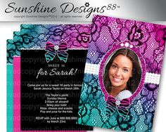 Lace Birthday Party Invitation Photo Template by SunshineDesigns88, $9.98