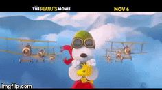An animated GIF Peanuts Movie, Peanuts Snoopy, Make Your Own, Make It Yourself, Flying Ace, Animated Gif Maker, Video Maker, Woodstock, Gifs