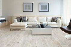 Our white oak Memory Bianco wood effect porcelain floor tiles perfectly compliment the cool tones of this contemporary lounge. Wood Effect Floor Tiles, Wood Effect Porcelain Tiles, Wood Tile Floors, Porcelain Floor, Parquet Flooring, Style At Home, Contemporary Lounge, White Oak Wood, Floor Colors