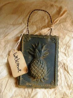 Primitive Folk Welcome Pineapple Blacken Beeswax Ornament