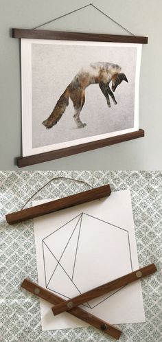Beautifully handcrafted solid walnut poster frames can allow you to easily hang your posters and prints without damaging them! It is strong enough to hold fabric and over 25 sheets of paper stacked together!!!