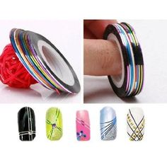 SET of 10 Nail Tape Stripe Decoration Sticker Hologram