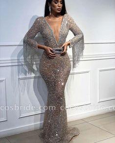 Sexy Mermaid Sequins Deep V-Neck Sleeves Floor-Length Prom Dress with Tassels - Abschlussball Kleider Elegant Dresses, Sexy Dresses, Beautiful Dresses, Fashion Dresses, Formal Dresses, Wedding Dresses, Bridesmaid Dresses, Long Dresses, Cheap Dresses