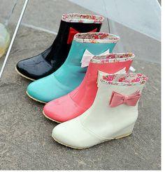 Botas lluvia kawaii lazo / rain boots cute bow wh663
