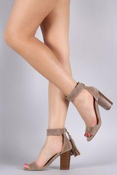 Breckelle Suede Tassel Ankle Cuff Chunky Heel