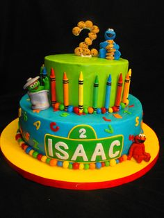 Sesame Street - I am so grateful for the awesome tutorials I found here on CC. I had a client who had very specific requests for this cake, and I was able to actually pull them off thanks to cake central! Specifically, the Elmo tutorial from Liis, and KalliCakes crayon tutorial.