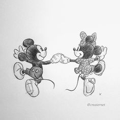 A quick little illustration of Mickey and Minnie Mouse that I drew using pencils and a biro #Mickey #Minnie #mouse #disney #sketchbook #drawing #art #illustration #pencil #pen #blackandwhite #holdinghands #cute