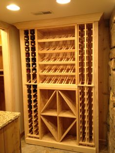 Wine Storage Ideas for Small Spaces - Converting Small Spaces : Our Pine Cellar Design can be finished with matching side panels and crown molding for that custom built-in look Wine Rack Storage, Wine Rack Wall, Wine Wall, Built In Wine Rack, Wine Rack Cabinet, Wine Cellar Basement, Wine Cellar Racks, Beer Cellar, Wine Rack Design