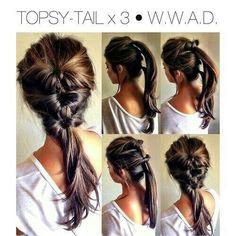 Triple topsy-turvy pony tail