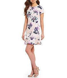 Ivanka Trump Floral Print Ruffle Hem Shift Dress Ivanka Trump, Formal Gowns, Party Fashion, Everyday Look, Special Occasion Dresses, Casual Dresses For Women, Dillards, Floral Prints, Short Sleeve Dresses