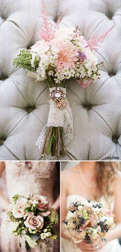 Ramos de novia en tonos pasteles y ramos de novia románticos. Romantic wedding bouquets.