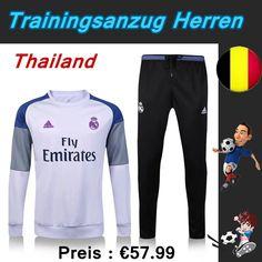 Offizielle Neueste Trainingsanzug Set Fussball Real Madrid FC Weiß + Hose Schwarz Saison 16 17 18 Billig Gro?handel