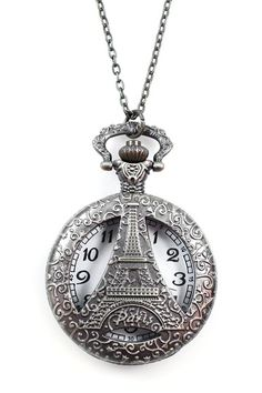 Eiffel Tower Pocket Watch Pendant Necklace by Geometric Jewelry Statements on @HauteLook