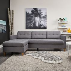 This sectional sofa is inspired by Scandinavian design and is flexible thanks to the smart design of its reversible chaise allowing for a right or left-hand placement. Sectional Sofa With Chaise, Living Room Sectional, 3 Seater Sofa, Living Room Furniture, Sofas, Couches, Grey Sofa Design, Gray Sofa, Unique Furniture