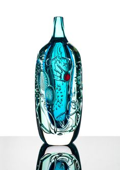 "@ Peter Hermansson (Swedish), ""Broken key"" Ariel Glass Vase."