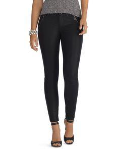 Curvy Coated Zip Black Skinny Jean