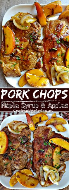 These Pork Chops and Maple Syrup with apples and onions are amazing! #porkchops #maplesyrup #apples #fall