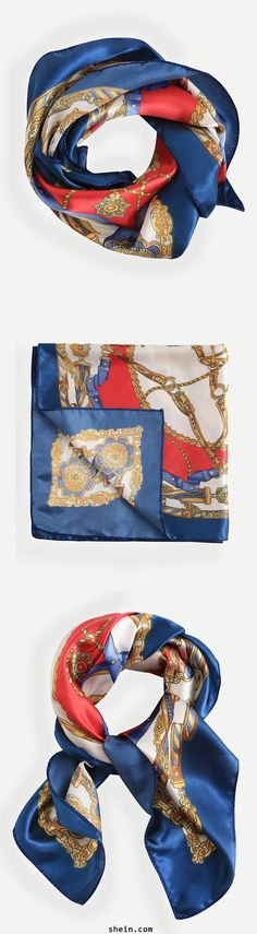 Fall trendy 2016-square scarf for a whole look detail. $9.9 for this Multicolor Print Silk Square Scarf at shein.com.
