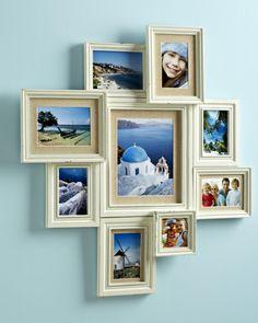 Pier 1 White Linen Mat Collage Frame is an instant wall collage, can also make this with glueing different size frames together.