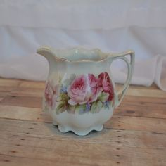 German shabby chic creamer with lush pink roses by TheCastOffQueen