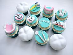 Dentist Cupcakes! This popular pin goes with the backdrop dental cake that we just pinned.  All decorations are edible. www.globalsmiles.co.za