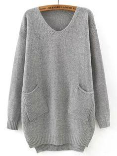 Grey V Neck Pockets Loose Sweater 20.26